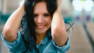Girl brunette with a beautiful smile