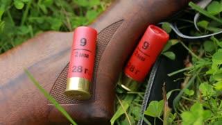 Hunting ammunition bandolier and close-up