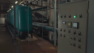 Industrial water filtration and ionizer system Remote control a small substation for water purification. Chemical water purification and ionization of water