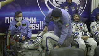 Kazakhstan Baikonur Launch 17 November 2016 Preparing for departure astronaut into space. astronaut in full gear preparing for the flight.
