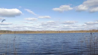 Lake in the early spring, hang beautiful clouds