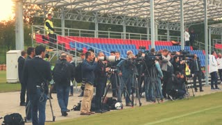 Minsk - 5 September 2016: Open training French football team in Minsk. The media are shooting. Video and photography work of journalists