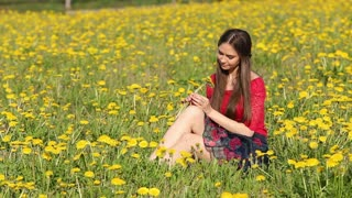 Model. Sitting among the blooming flowers of dandelion
