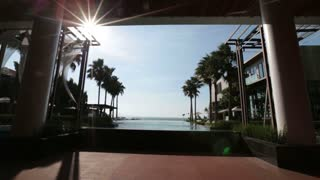 Pattaya Thailand November 26 View from the pool to the sea, palm trees blue water