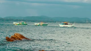 Phuket, Thailand, November 27, 2016 Group of boats on the ocean moves