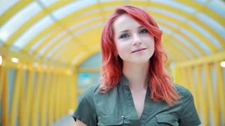 Portrait of a girl with red hair, interesting look, close up, young skin