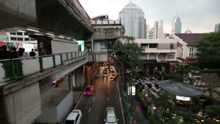 Thailand Bangkok November 20 Multi-level movement. Large concrete crossings for pedestrians. The movement of vehicles.