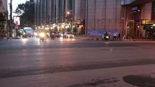 Thailand Bangkok November 20 traffic motorcycles and cars moving on the streets of Bangkok