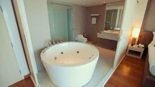 Thailand Bangkok November 21 Bathroom with jacuzzi and beautiful views of the ocean