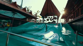 Thailand Bangkok November 21 The general plan of the water park with lots of slides and various water attractions