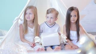 Three beautiful children running