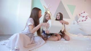 Three girls with long hair