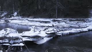 Beautiful ice blocks blocked the river