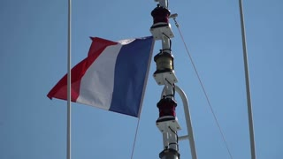 Flag of France fluttering in the wind