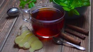 Ginger tea. Tea with mint.