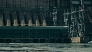 Krasnoyarsk hydroelectric power station. The ninth power plant in the world in size. Built on the mighty Yenisei River.