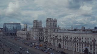 """MINSK, BELARUS - MARCH 2017: Two towers on Railway station square known as """"City Gates"""""""