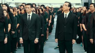 Thailand Bangkok November 20 2016 A large number of people in black clothes at a mourning ceremony. See off the last journey of the monarch in Thailand.