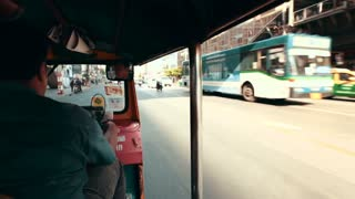 Thailand Bangkok November 20 2016 Shooting from the first person, driving on a motocross through the streets of the city