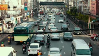 Thailand Bangkok November 20 2016 Street traffic multi-storey intersection of the surface subway. The movement of public transport and cars.