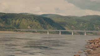 The Great Russian River Yenisei. A bridge across a large river.