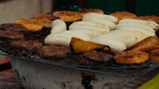 Vegetarian cuisine fried bananas, street food, fast food, Asian food.