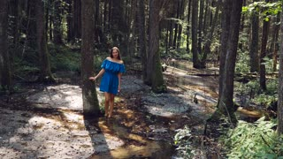Young girl with white skin, on a stream with clear water in a blue dress is among barefoot in the woods.