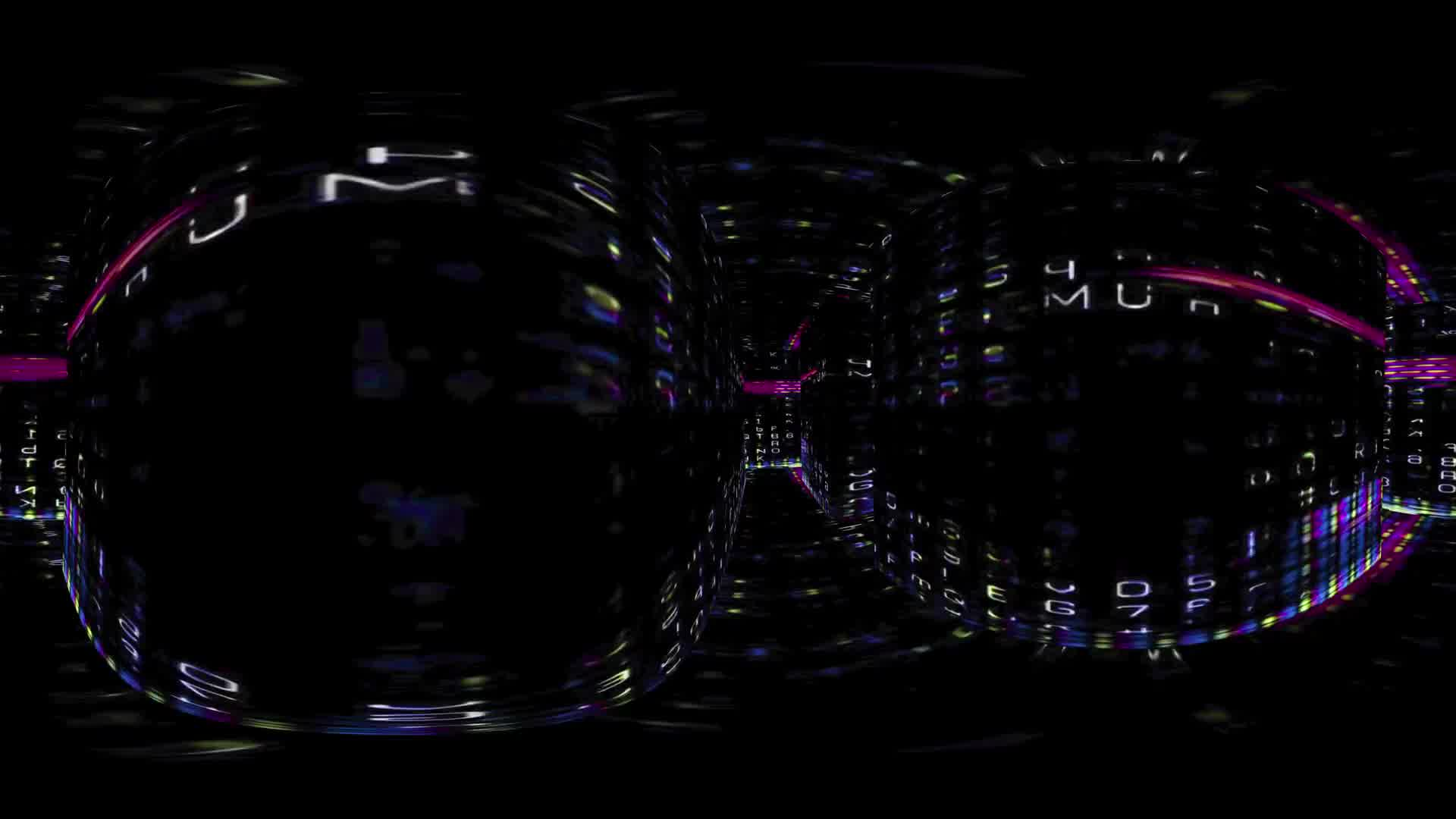 360 VR Digital Graffiti 1005: Virtual reality video traveling through a maze of streaming data and video flux (Loop). Designed to be used in Oculus Rift, Samsung Gear VR and other virtual reality displays.