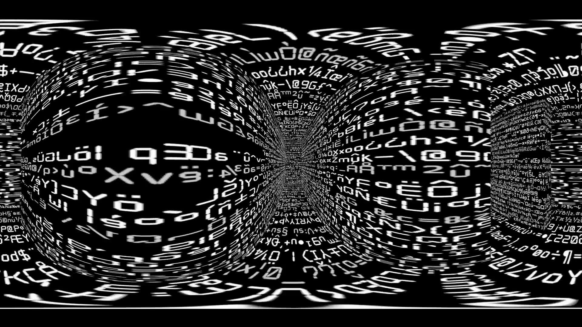 360 VR Maze 003: Virtual reality video inside a maze of streaming computer code (Loop). Designed to be used in Oculus Rift, Samsung Gear VR and other virtual reality displays.