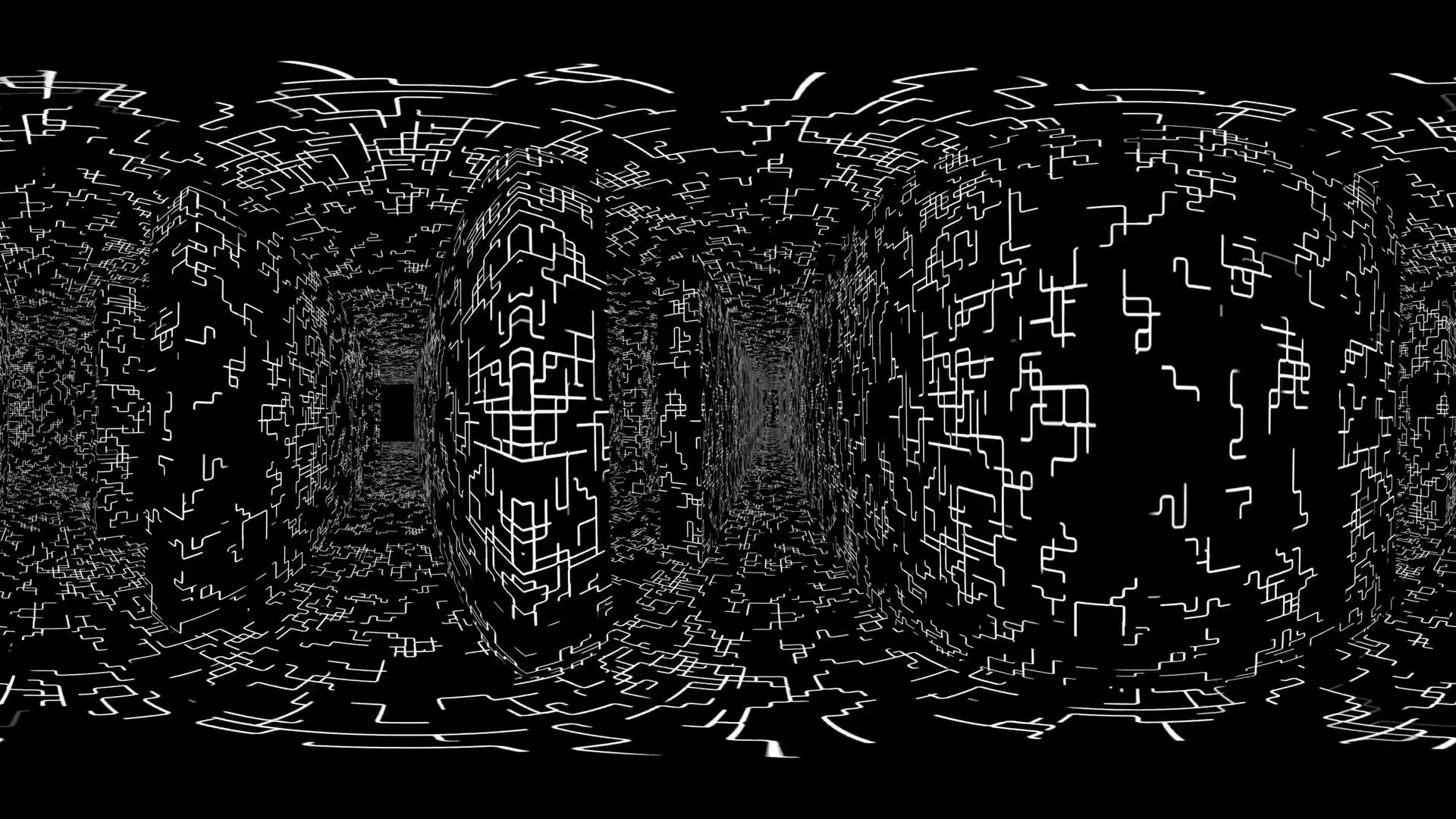 360 VR Maze 004: Virtual reality video inside a maze of grid lines (Loop). Designed to be used in Oculus Rift, Samsung Gear VR and other virtual reality displays.