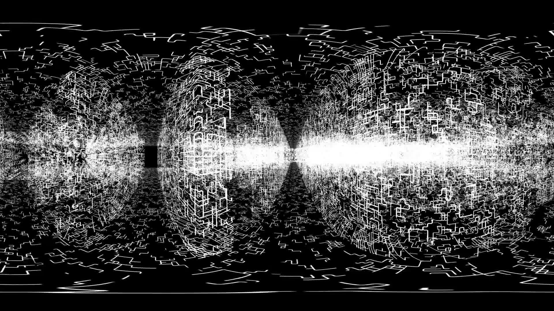 360 VR Maze 006: Virtual reality video inside a maze of grid lines (Loop). Designed to be used in Oculus Rift, Samsung Gear VR and other virtual reality displays.