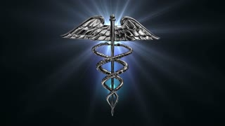 Caduceus 102: The Caduceus medical symbol rotates on a blue lens flare (Loop).