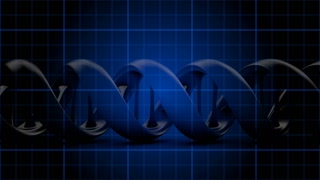 DNA 018: Medical video background with an animated DNA strand on a blue grid (Loop).
