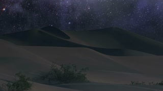 Dunes 012: A starry night sky turns over desert sand dunes.