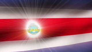 Flag FX0207: Close-up flag of Costa Rica ripples in a breeze (Loop).