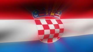 Flag FX0208: Close-up flag of Croatia ripples in a breeze (Loop).