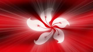 Flag FX0404: Close-up flag of Hong Kong ripples in a breeze (Loop).