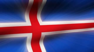 Flag FX0406: Close-up flag of Iceland ripples in a breeze (Loop).