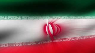 Flag FX0410: Close-up flag of Iran ripples in a breeze (Loop).