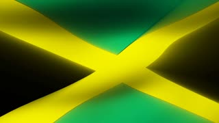 Flag FX0508: Close-up flag of Jamaica ripples in a breeze (Loop).