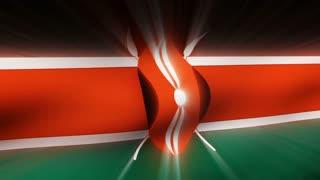 Flag FX0601: Close-up flag of Kenya ripples in a breeze (Loop).