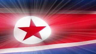 Flag FX0602: Close-up flag of North Korea ripples in a breeze (Loop).