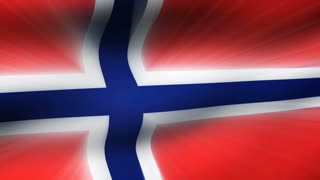 Flag FX0706: Close-up flag of Norway ripples in a breeze (Loop).