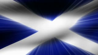 Flag FX0810: Close-up flag of Scotland ripples in a breeze (Loop).