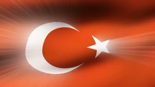 Flag FX0910: Close-up flag of Turkey ripples in a breeze (Loop).