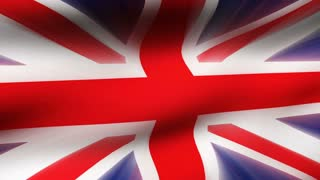 Flag FX1001: Close-up flag of United Kingdom ripples in a breeze (Loop).