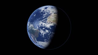 Global 0101: The planet Earth rotating, half in shadow (Loop).