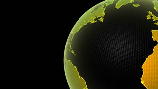 Global 0104: The planet Earth in close up, rotating in Green, yellow and black (Loop).