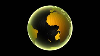 Global 0406: A transparent gold planet Earth rotating in black space (Loop).