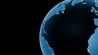Global 0411: A black and blue planet Earth rotating in black space (Loop).